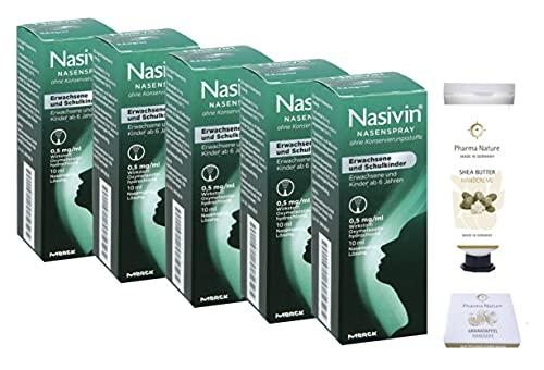 Nasivin Nasenspray 10ml - 5er Sparset - ohne Konservierungsmittel - inkl. einer pflegenden Handcreme ODER Handseife von Pharma Nature