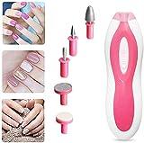 HWXDH Set de pedicura y manicura eléctrica portátil con luz LED, 5 Archivos adjuntos Sistema de Pulido de uñas para niñas y Mujeres Dedos de los pies y uñas (Rosado)