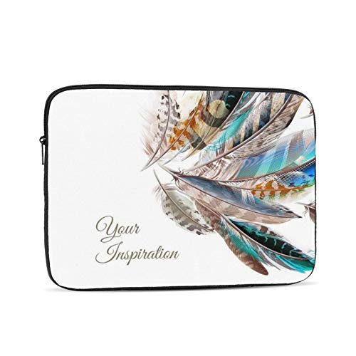 Colorful Feathers Laptop Sleeve 17 inch, Shock Resistant Notebook Briefcase, Computer Protective Bag, Tablet Carrying Case for MacBook Pro/MacBook Air/Asus/Dell/Lenovo/Hp/Samsung/Sony