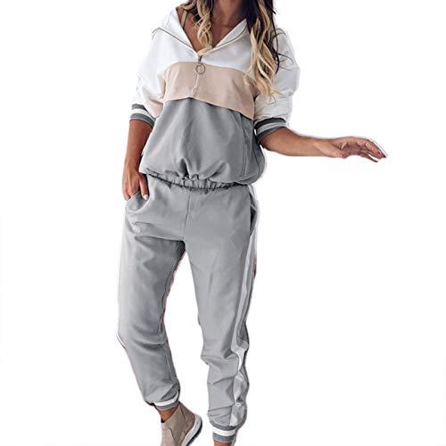 Conjunto de Ropa de salón de 2 Piezas de Contraste de Color para Mujer Conjunto de pantalón de chándal con cordón Suelto