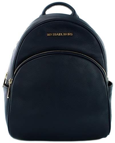 Michael Kors Abbey Backpack Bag Pebbled Leather (Medium, Navy Blue) Gold Tone Hardware