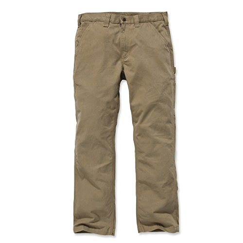 Carhartt Men's Relaxed Fit Washed Twill Dungaree Pant, Dark Khaki, 38W X 32L