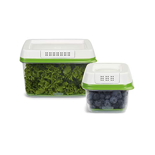 Rubbermaid FreshWorks Produce Saver Food Storage Containers, 2-Piece Set, Green