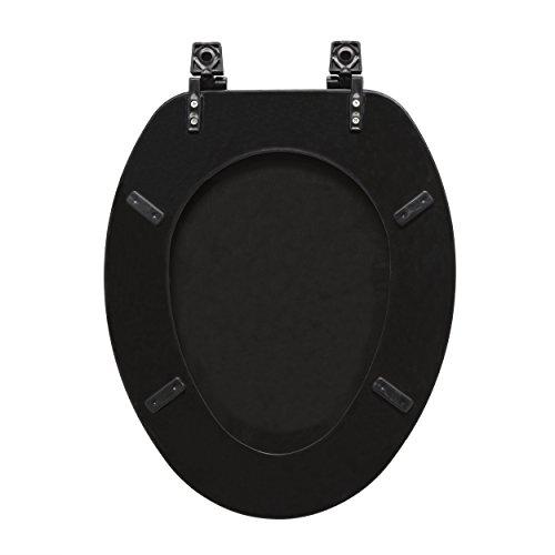 "Achim Home Furnishings TOWDELBK04 Fantasia 19"" Elongated Wood Toilet Seat, Black"