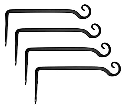 Mkono 4 Pack Wall Hook Hanging Plant Bracket Decorative Straight Plant Hanger for Bird Feeders, Planters, Lanterns, Wind Chimes Indoor Outdoor, 10 inch