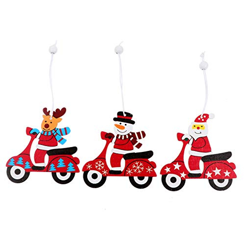 VOSAREA 3pcs Wooden Christmas Hanging Decor Reindeer Santa Claus Snowman Hanging Ornaments Decorative Hanging Decor Xmas Ornaments for Home Garden Yard Party Favors Gifts