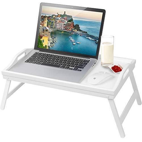 Jibanie Bandeja de mesa de desayuno con patas plegables, bandeja de TV de bambú ajustable, escritorio de madera para servir la cena o la barra de té