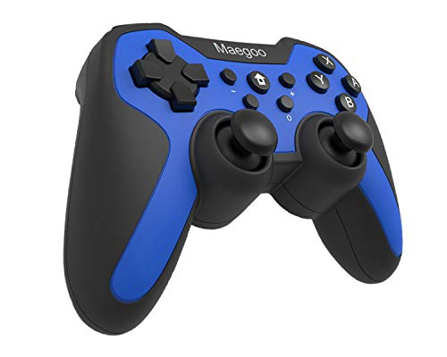 Maegoo Controllers für Nintendo Switch, Switch Controller Bluetooth Wireless Gamepad Joystick Joypad mit 6 Gyro Axis, Turbo Funktion und Dual Shock(Blau)