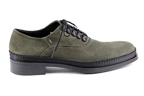 Cesare Paciotti 4002 Green Suede Lace-Up Rubber Sole Metal Logo Men Italian Designer Shoes