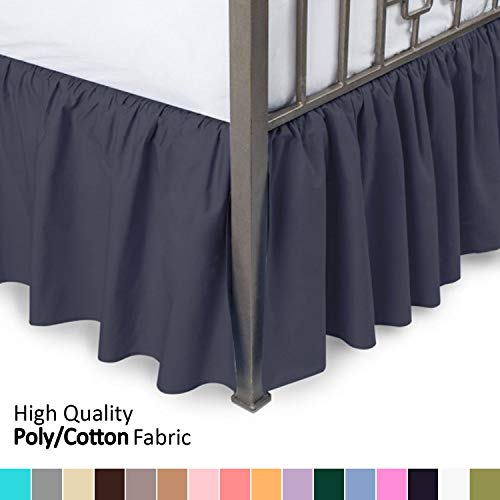 Ruffled Bed Skirt with Split Corners - Twin XL, Navy, 18...