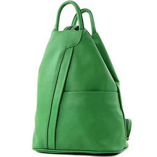 modamoda de - T180 - ital Damen Rucksack Tasche Nappaleder, Farbe:Blattgrün