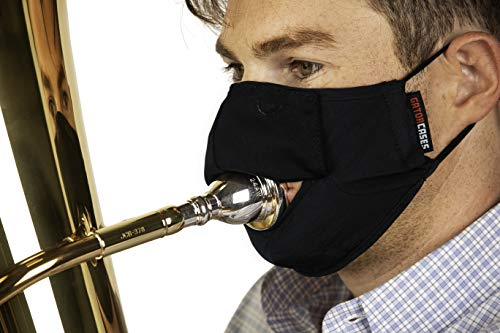 Gator Cases Double-Layer Face Mask with Magnetized Cotton Flap, Ideal for Wind Instrument Performance, Drinks, Events and Travel; Small (GBOM-SMALLBK)