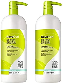 DevaCurl ORIGINAL No-Poo Zero-Lather Cleanser & One Condition Daily Cream Conditioner DUO Set (Original - 32 oz Large Lite...