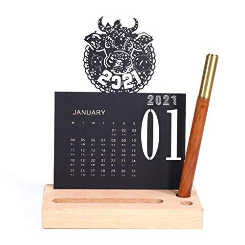NAIXUE 1 Satz Von 2021 Kreativen Schreibtischkalenderdekorationen, 2021 Chinesisches Neujahr 3D-Schreibtischkalender Gravur Basteln Schreibstift Holz Basis Dekoration Basteln Ornamente Dekoration