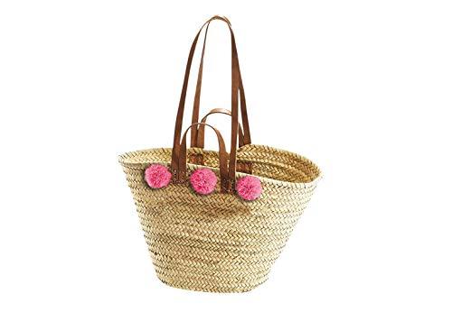 Kobolo Trendige Ibizatasche mit pinken Bommeln aus Palmblatt geflochten
