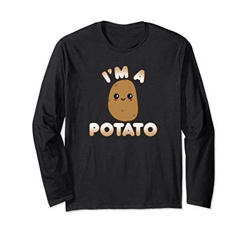 Funny Potato Costume Cute Kawaii Style Smiling I'm A Potato Long Sleeve T-Shirt