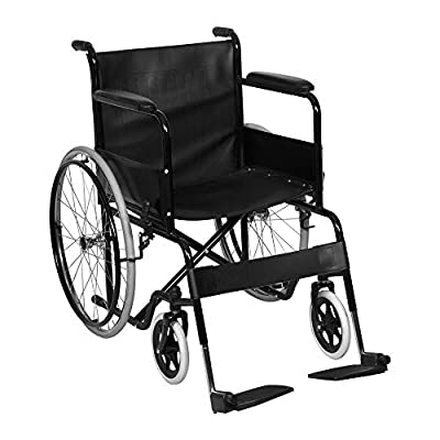 BonChoice 20 inch PU Leather Wheelchairs Folding Lightweight Self Propelled for Elderly, Mobility Aids Attendant-Propelled Wheelchair Travel Chair for Adults Black