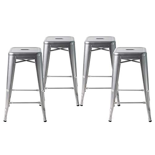 "Buschman Counter High Tolix-Style Metal Bar Stools, Indoor/Outdoor, Stackable, 24"" H, Grey, Set of 4"