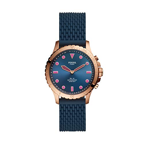 Fossil Women's FB-01 Stainless Steel Hybrid Smartwatch, Color: Rose Gold/Navy (Model: FTW5066)