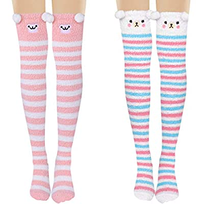 Fuzzy Socks Thigh High Socks Knee High Slipper ...