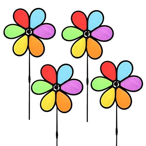 Prevessel Pinwheels Toys Set – 4 piezas de juguetes de molino de viento de tela de seis colores con bordes negros, colorido al aire libre, exquisita decoración de jardín para niños