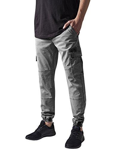 Urban Classics TB1435 Herren und Jungen Cargohose Washed Cargo Twill Jogging Pants, Rangerhose mit aufgesetzten Seitentaschen, grey, Größe W34