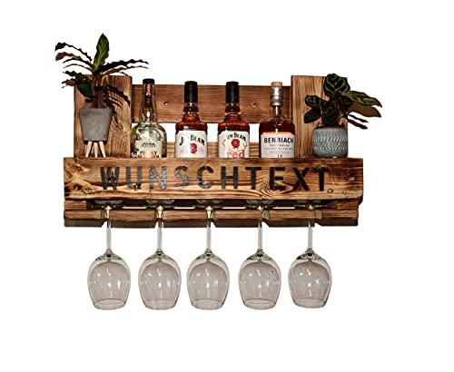 Weinregal Holz Schnapsregal vintage für Küche Bar Regal Wandregal rustikal aus Europalette