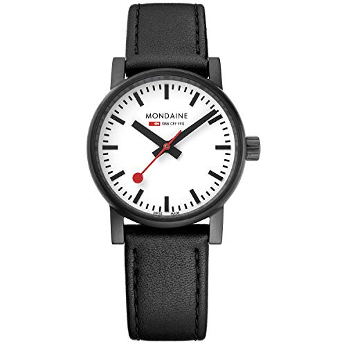 Mondaine SBB Classy Wrist Watch Women (Model: MSE.30111.LB) Swiss Made, Black Leather Strap, Black Stainless Steel Case, White Face, Black Hands and Numbers