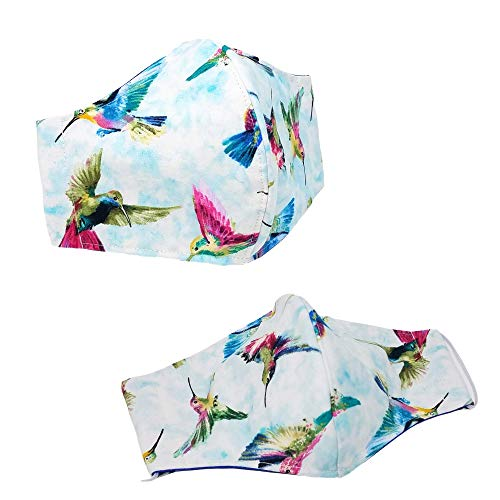 100% Premium Cotton Cloth Face Covering for Women Men-Durable- Breathable-3 Layers Fabric-Reusable-Washable - Outdoor - MADE IN USA - 1 piece (Tossed Hummingbirds)