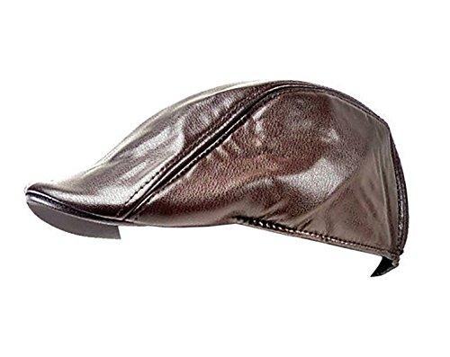 Trendit Designer Casquette plate en cuir synthétique Noir ou marron U17 - Marron -