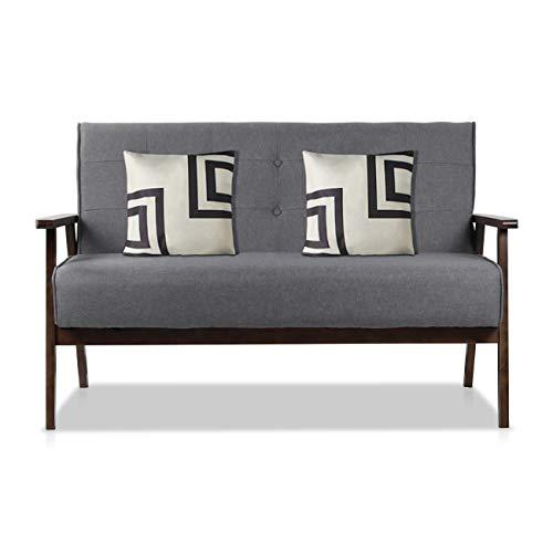 AODAILIHB Modern Fabric Upholstered Wooden 2-Seat Sofa, Sleek Minimalist Loveseat, Sturdy and Durable Double Sofa. Gift 2 Pillowcases (Grey)