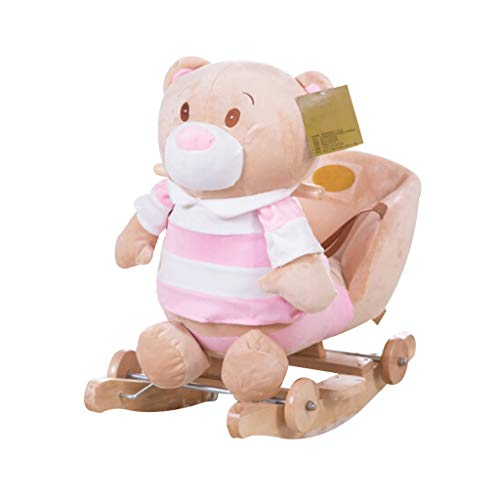 MBCL Rocking Chair Baby Toys Solid Wood Children 2 in 1 Rocking Horse Rocking Chair 1-3 Years Old,Pink Stripe Bear Plush Rocking Horse Toy,KidsTraditional Toy Rocking Ride-On Toy