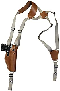 Barsony New Saddle Tan Leather Vertical Shoulder Holster for Full Size 9mm 40 45