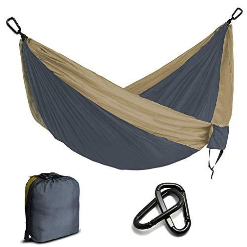 FENGSZ Multi-Color Nylon Camping Hammock 260X 135Cm,Bearing 330 Lbs,For Outdoor,Yard, Camping,Beach And Patio,Dark Grey And Khaki