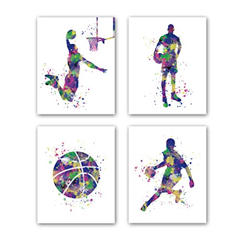 """Basketball Art Prints, Set of 4 (8""""X10""""), Sport Player Silhouette Canvas Poster, Watercolor Splatter Painting for Bedroom Office Living Room Decor, No Frame"""