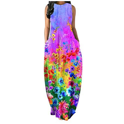 Zieglen Women Casual Summer Sleeveeless Sexy Plus Size Loose Plain Long Maxi Dress with Pockets Beach Sundress