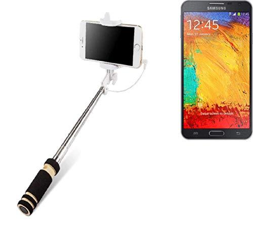 K-S-Trade Für Samsung Galaxy Note 3 Neo 3G Selfie Stick Selfiestick Kabelgeb&en Monopod Mit Kabel Stab Stange Selfportrait Handheldstick Für Samsung Galaxy Note 3 Neo 3G Schwarz