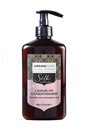 Arganicare Acondicionador Leave-In Silk para cabello seco y exigente, 400 ml