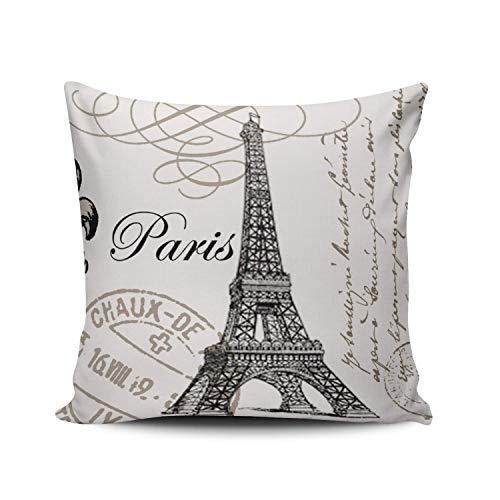 Fundas de Almohada con Sello de Torre Eiffel de París en Blanco y Negro, Fundas de Almohada de Lino Decorativas con Estampado de tamaño Cuadrado