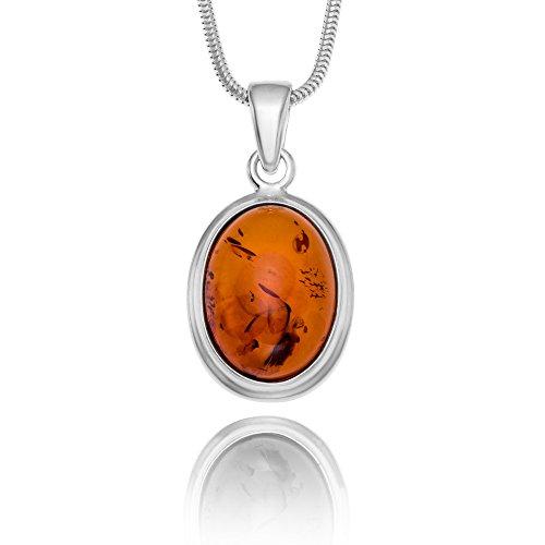 Copal Joya Collar con Ámbar, plata de ley 925, colgante oval, con caja de joyas, idea regalo