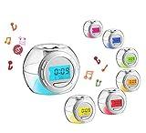 JUHUA LED 7 Farbe Kleiner Musikwecker personalisierter Wecker digitaler Wecker der leuchtenden Musik
