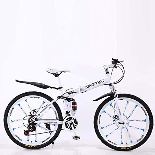JF-Xuan Bicycle Las bicicletas de montaña bicicleta plegable, suspensión 24Speed doble freno de disco completo AntiSlip, marco de aluminio ligero, Suspensión Tenedor, múltiple Colors24 pulgadas / 26