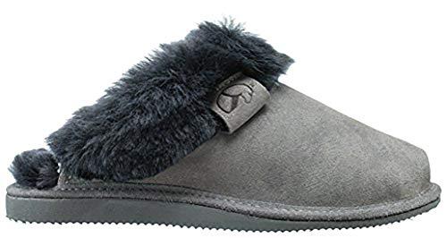Estro Intimo Damen Lammfell Hausschuhe Echtleder Gefuttert Wolle Pantoffeln Schlappen Schuhe (37, Grau)