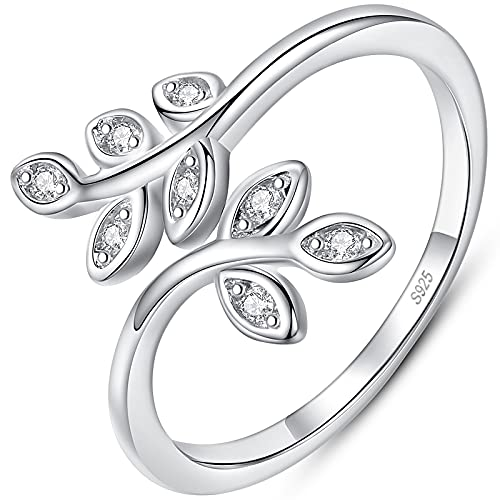 Damen Olivenblatt Ring Silber 925 verstellbares offenes Fingerringgeschenk für Frauen (mit Geschenkbox)