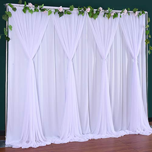 White Tulle Backdrop Curtain for Wedding,Baby Shower,Parties Backdrop Drape Curtain for Photography, Bridal Stage ,Videos 10 ft x 7 ft