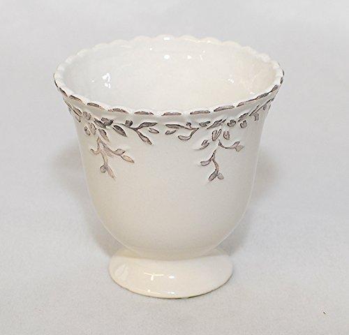 Coupe en Céramique Blanche Décorée Laqué 11,5 X 11,5 Cm
