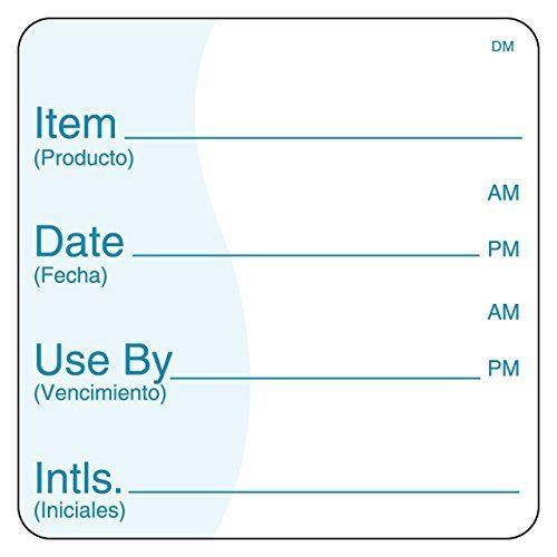 DayMark Item/Date/Use by Bilingual Dissolvable Label, 2' x 2' (Roll of 250)