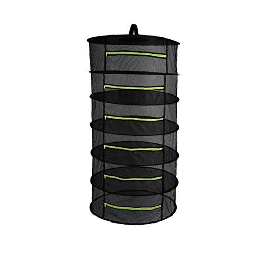 MICHAELA BLAKE 6 Schicht Herb Wäschetrockner Net, Kräutertrockner Black Mesh Hänge Trockner Rack mit Reißverschluss Trocknen Einhängegestell Netz-Ineinander greifen Trocknung Net Basket Faltbare