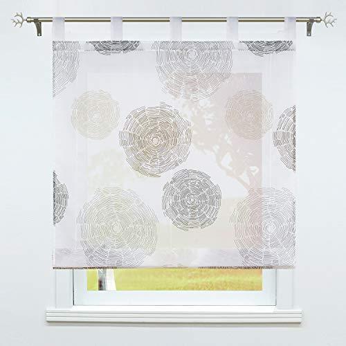 SCHOAL Raffrollo mit Schlaufen Transparente Raffgardine Voile Schlaufenrollo Modern Bändchenrollo 1 Stück BxH 80x150cm Braun