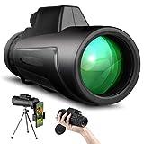 SKYSPER Telescopio Monocular 12 x 50 HD Impermeable con Trípode y Soporte para Teléfono Prismas BAK4 y FMC Visión Nocturna para Observación de Aves, Senderismo, Concierto, Viaje, Caza, Partido Fútbol